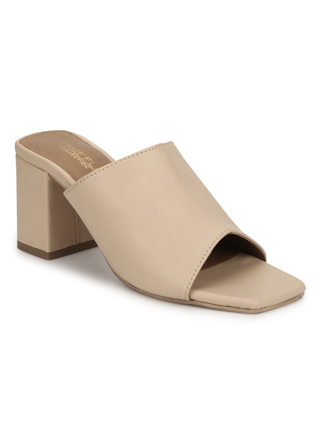 Truffle Collection | Truffle Collection Nude PU Wide Strap Mules