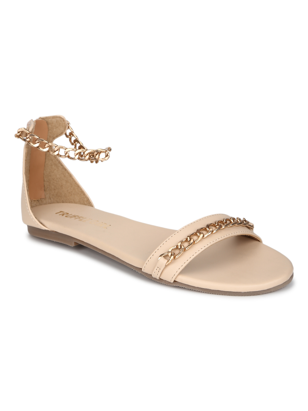 Truffle Collection | Truffle Collection Nude PU Gold Chained Sandals