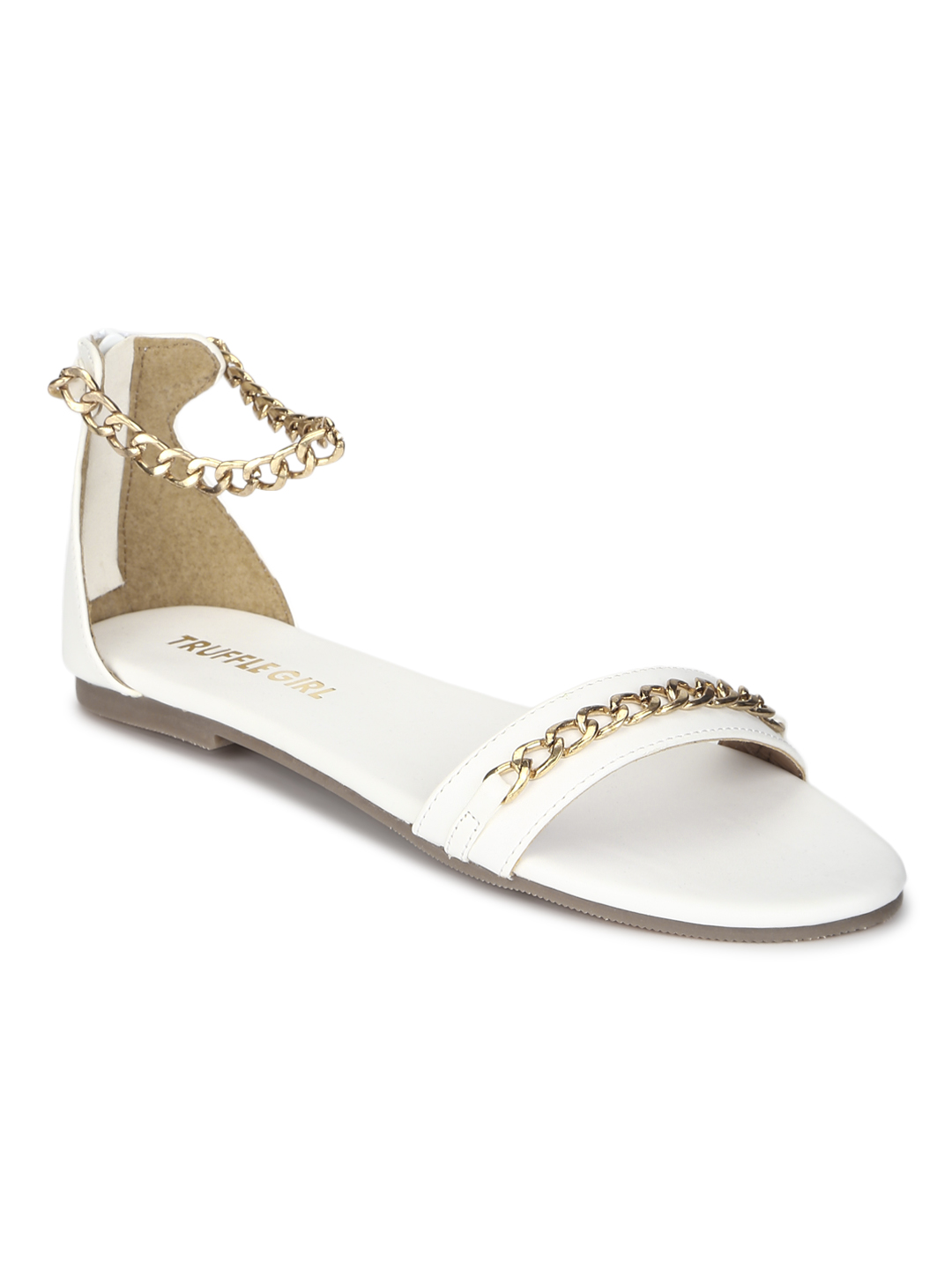 Truffle Collection | Truffle Collection White PU Gold Chained Sandals