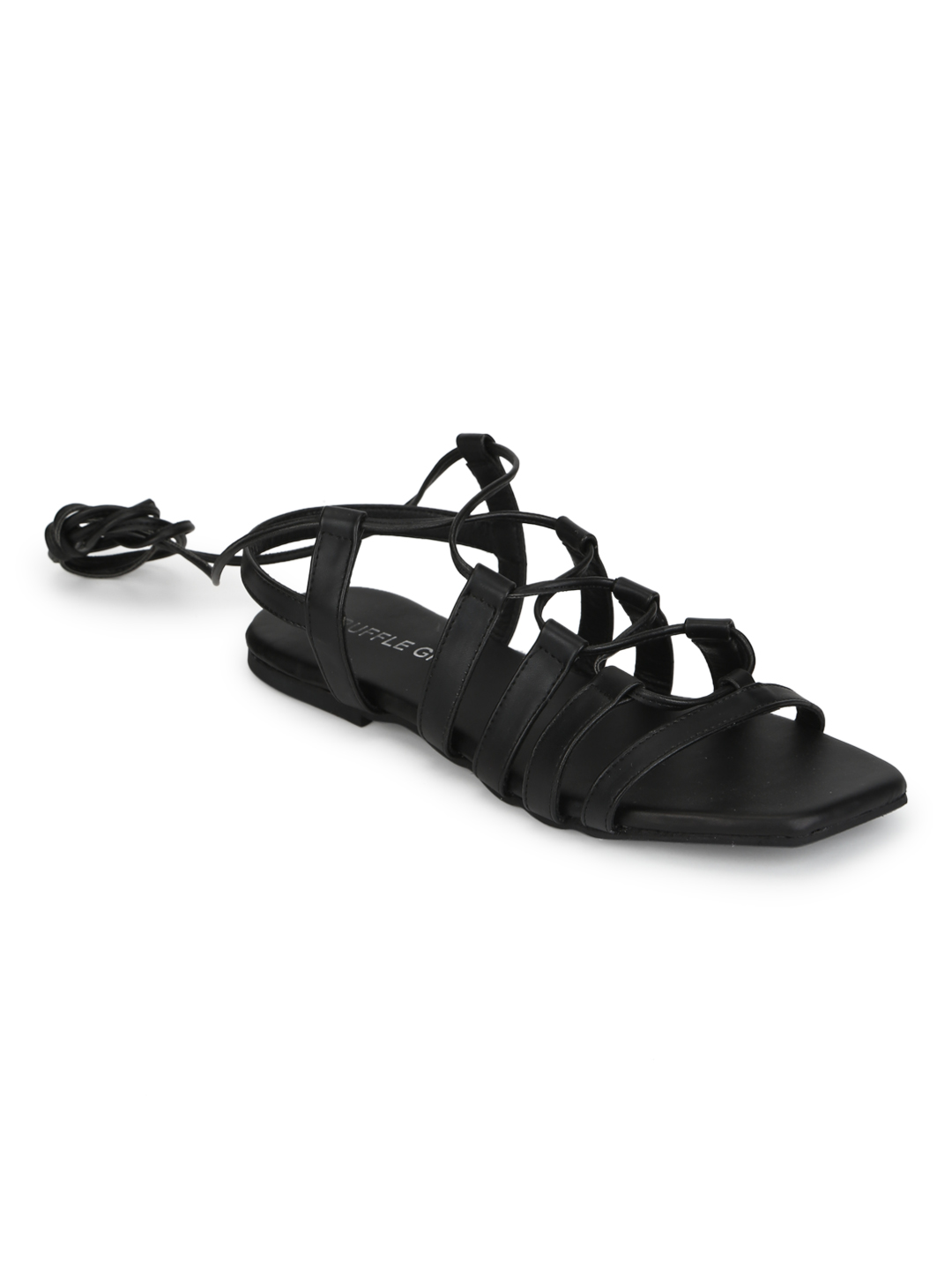 Truffle Collection | Truffle Collection Black PU Lace Up Gladiator Sandals