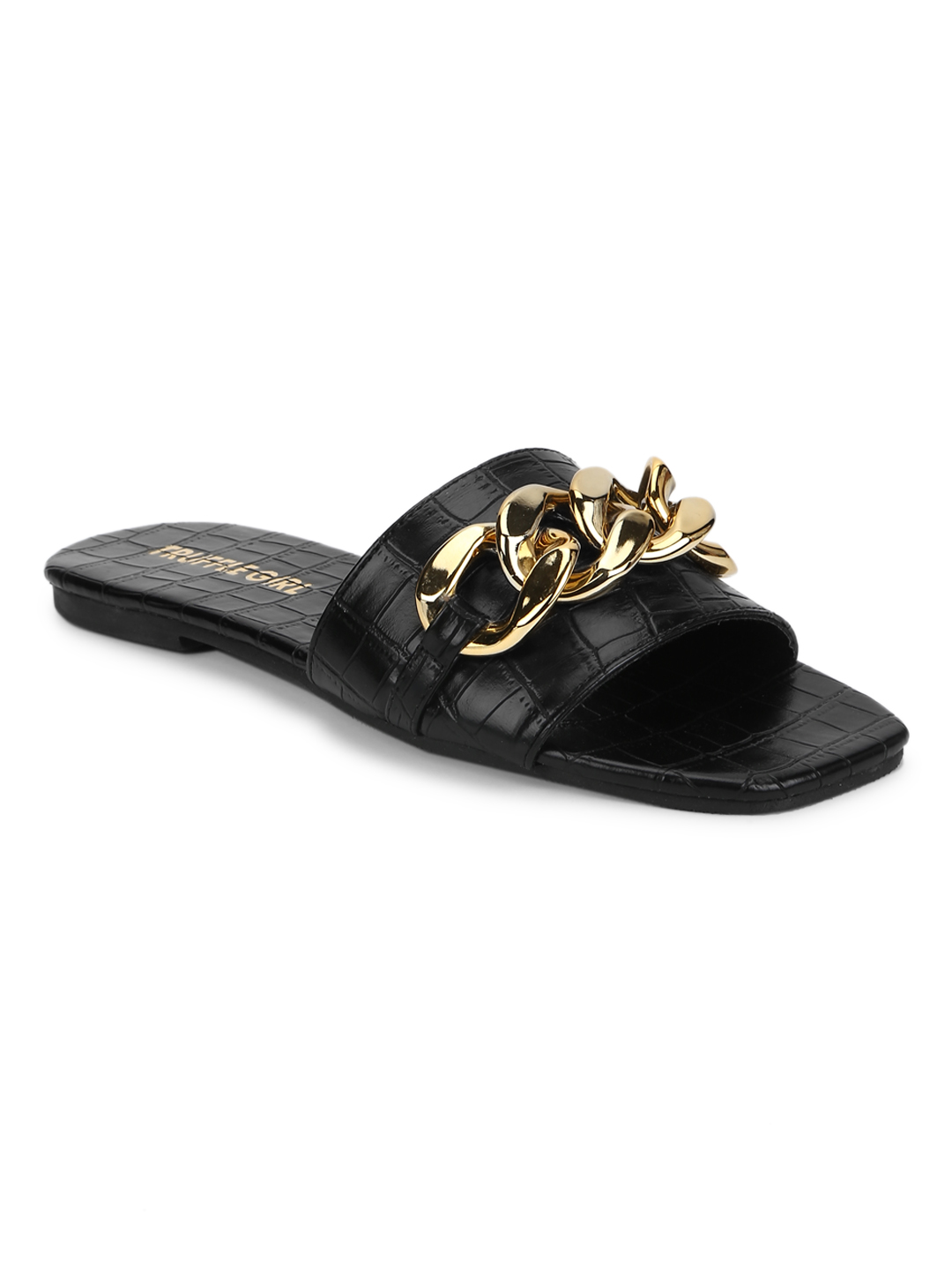 Truffle Collection | Truffle Collection Black Croc PU Gold Chain Slides
