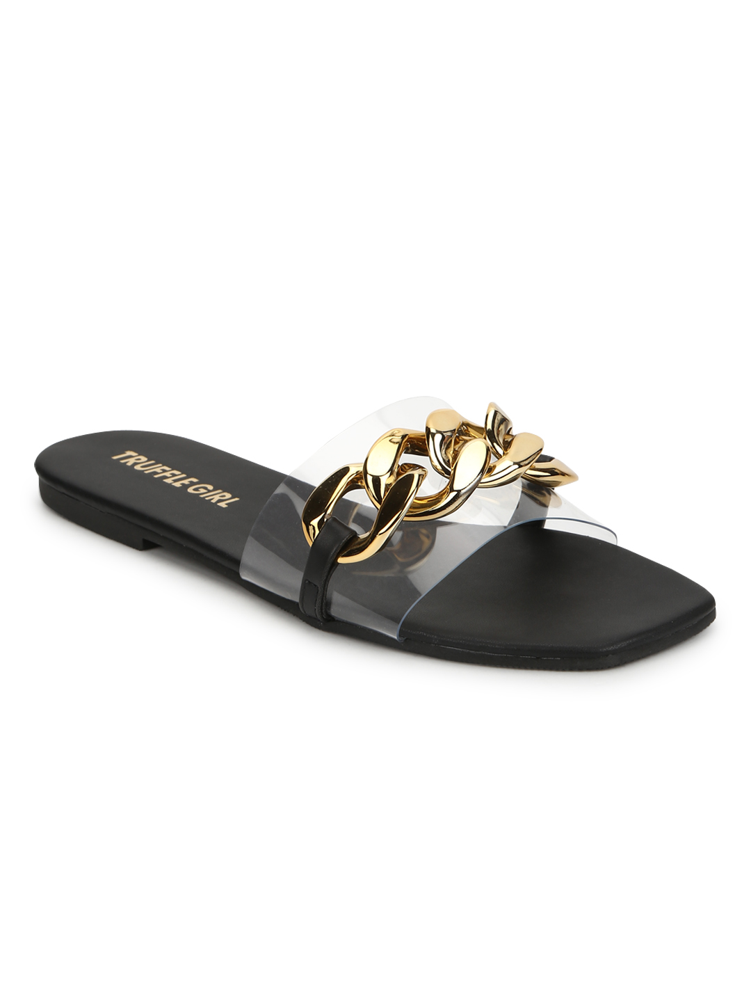 Truffle Collection | Truffle Collection Black PU Gold Chain Slides