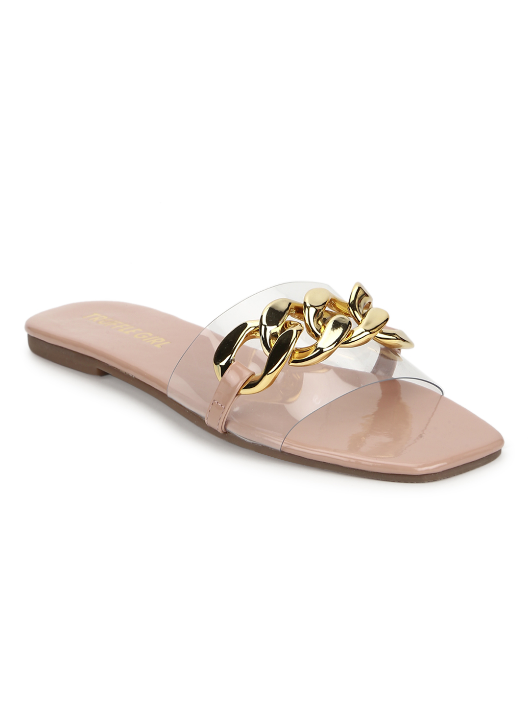 Truffle Collection   Truffle Collection Nude PU Gold Chain Slides