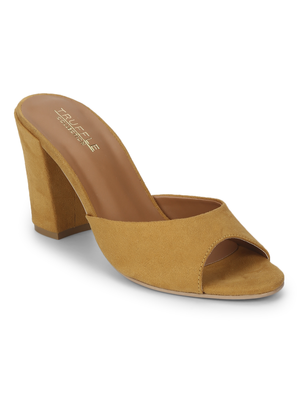 Truffle Collection | Mustard Micro Peep Toe Sandals