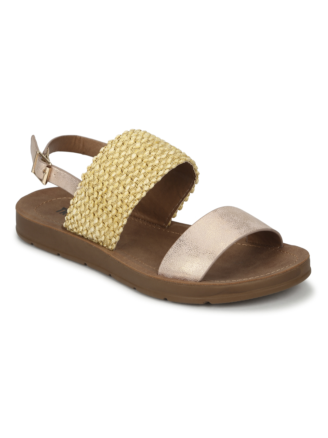 Truffle Collection | Rose Gold PU Flat Sandals With Back Strap