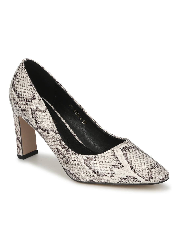 Truffle Collection | Beige PU Snake Pattern Slim Block Heel Pumps