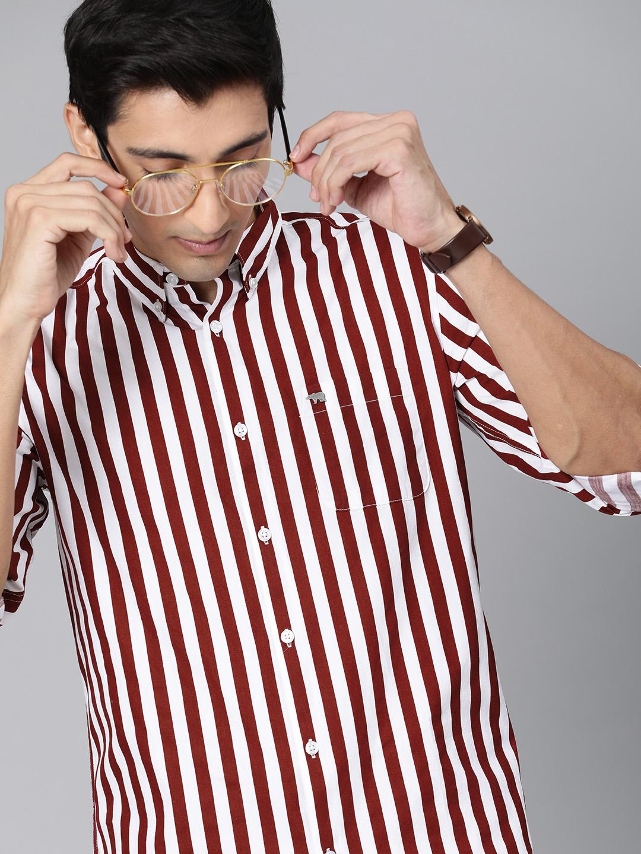 The Bear House | Men's Maroon Striped Casual Shirt