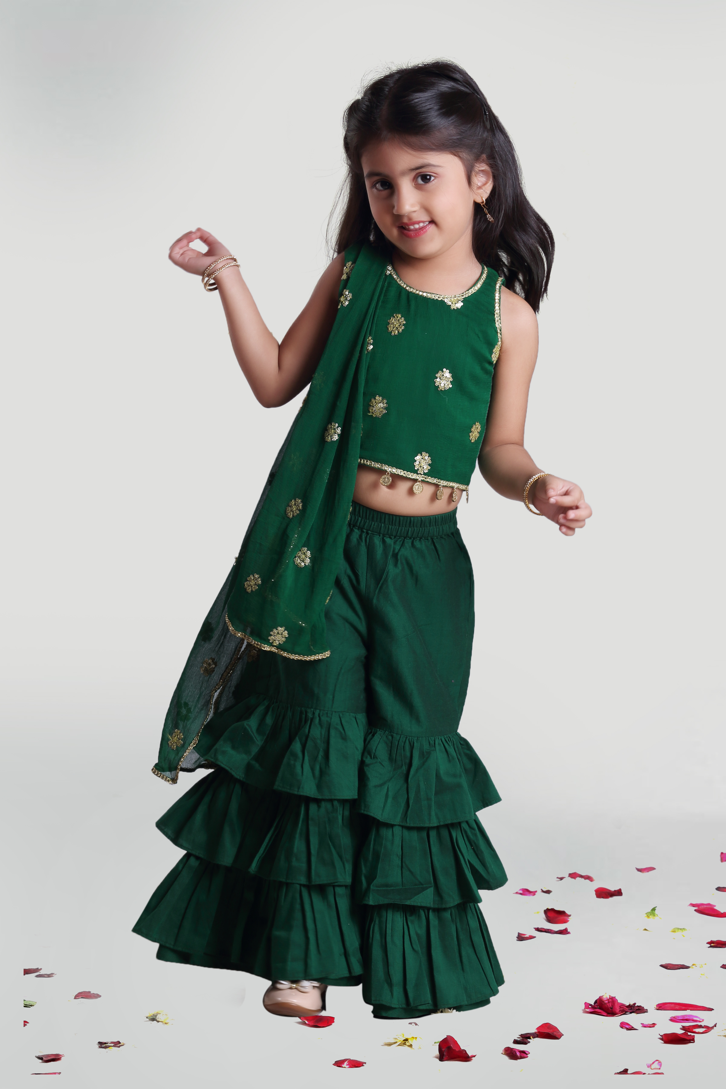 MINI CHIC | Green Sharara and Top Set With Dupatta for Girls