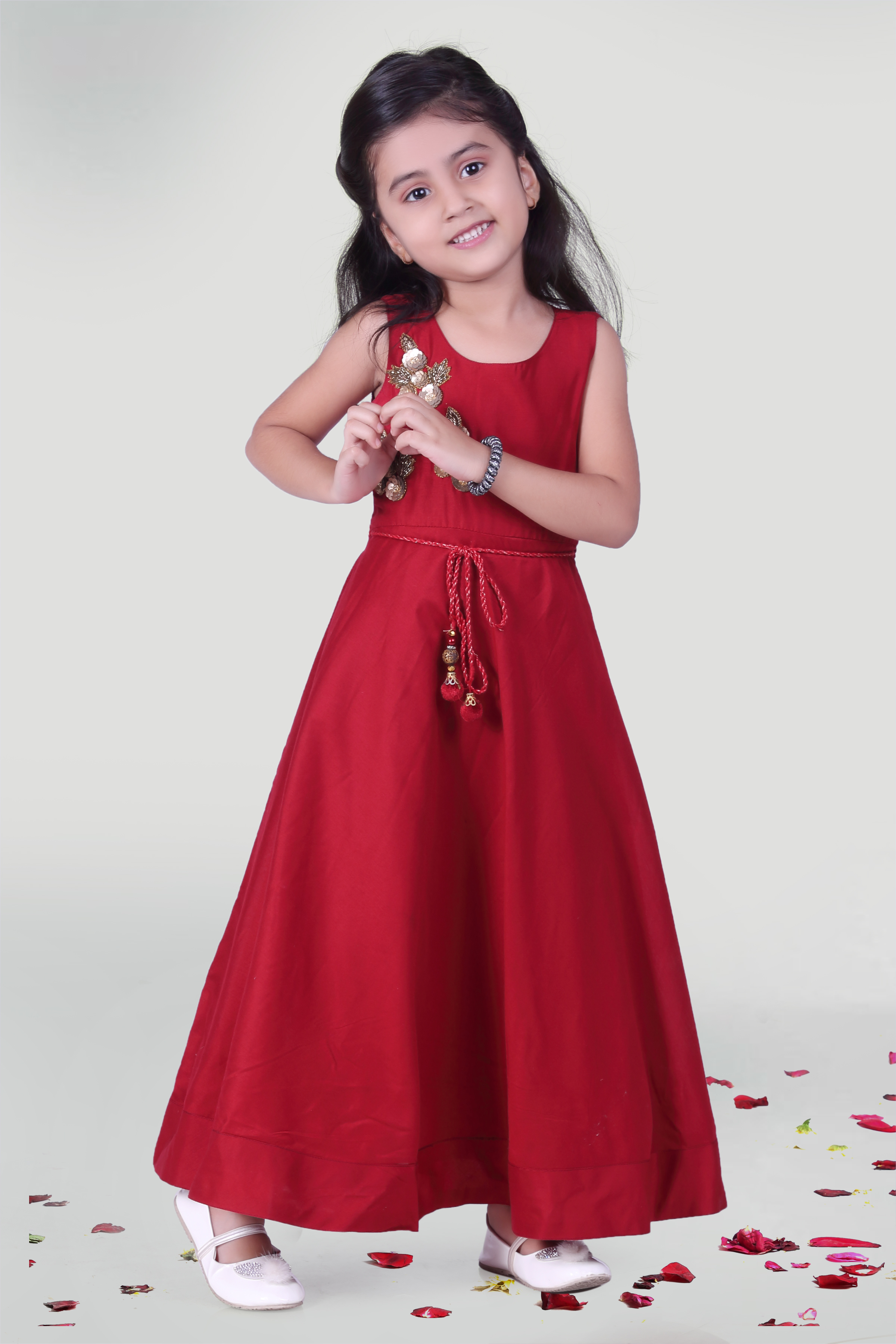 MINI CHIC | Wine Maroon Party Gown For Girls
