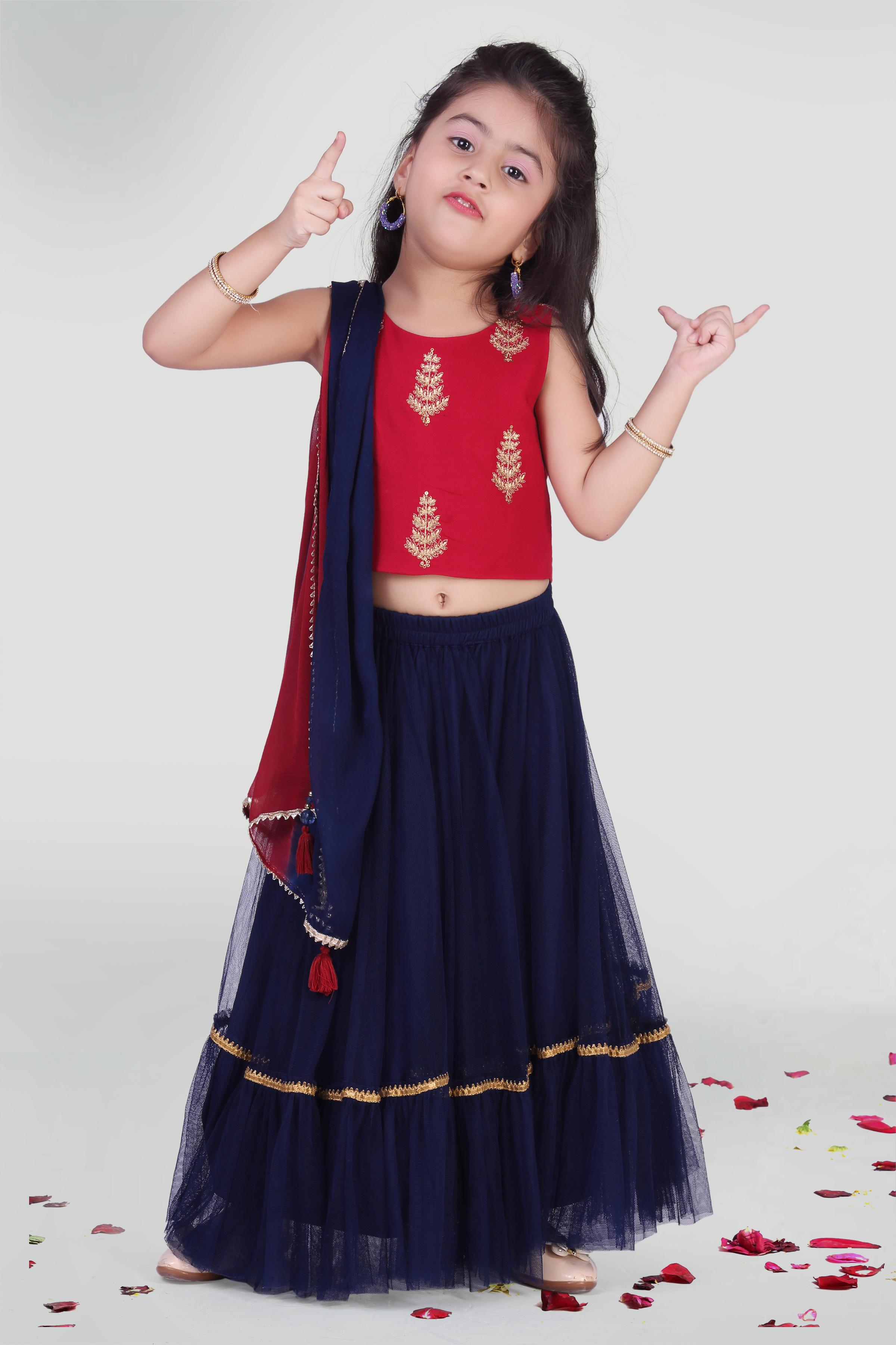 MINI CHIC   Skirt and Choli Set for Girls with Dupatta