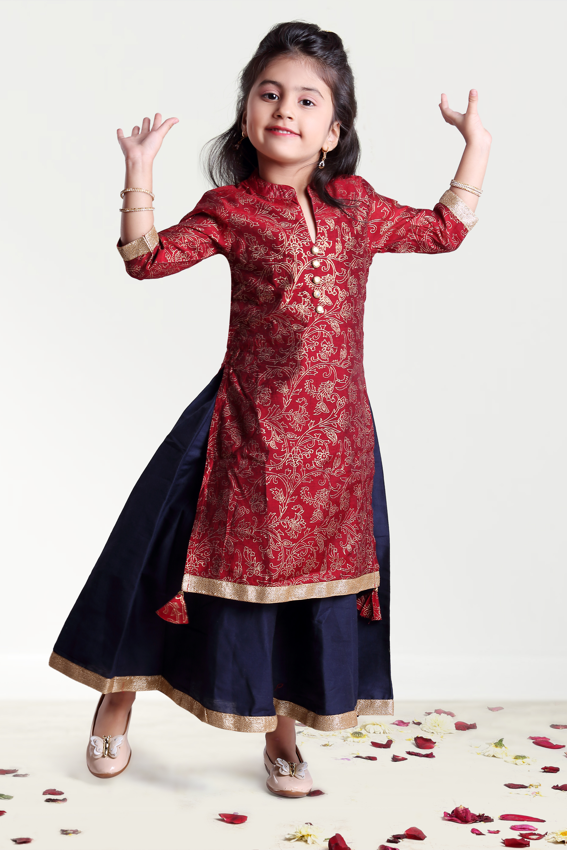 MINI CHIC | Maroon and Navy Inner Outer Set for Girls