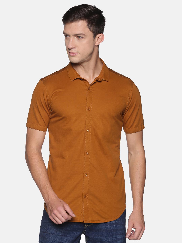 Showoff | SHOWOFF Men's  Cotton Casual Khaki Solid Slim Fit Shirt