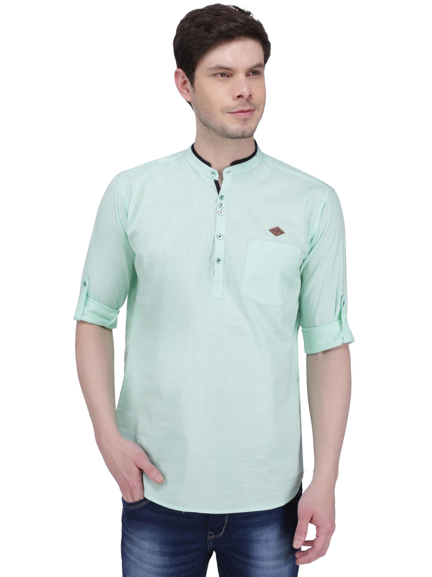 Kuons Avenue | Kuons Avenue Men's Candy Green Linen Cotton Short Kurta- KACLFS1316GY