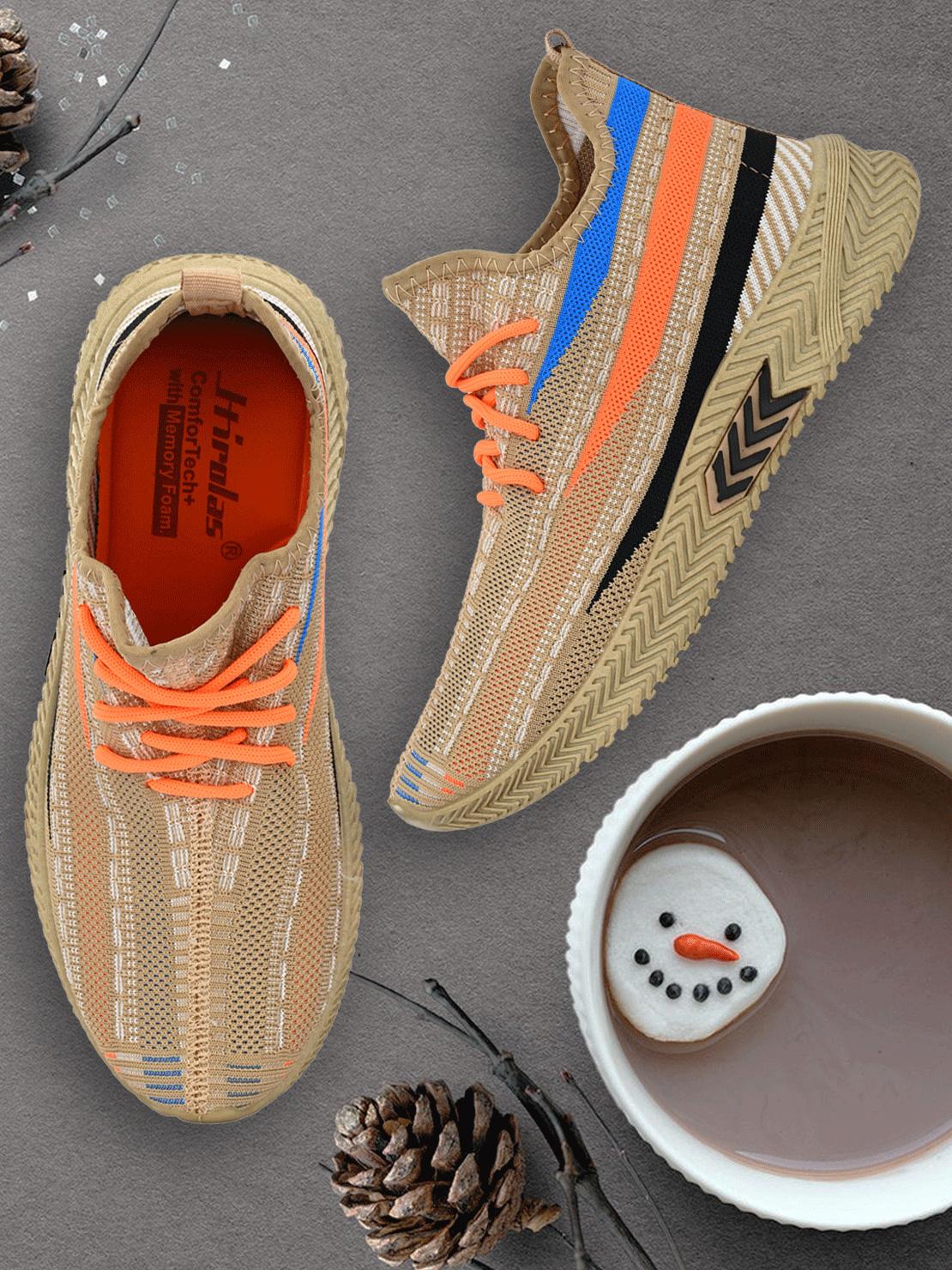 Hirolas   Hirolas® Men's Beige Knitted Gym/Running/Walking athleisure Sports Sneaker Shoes