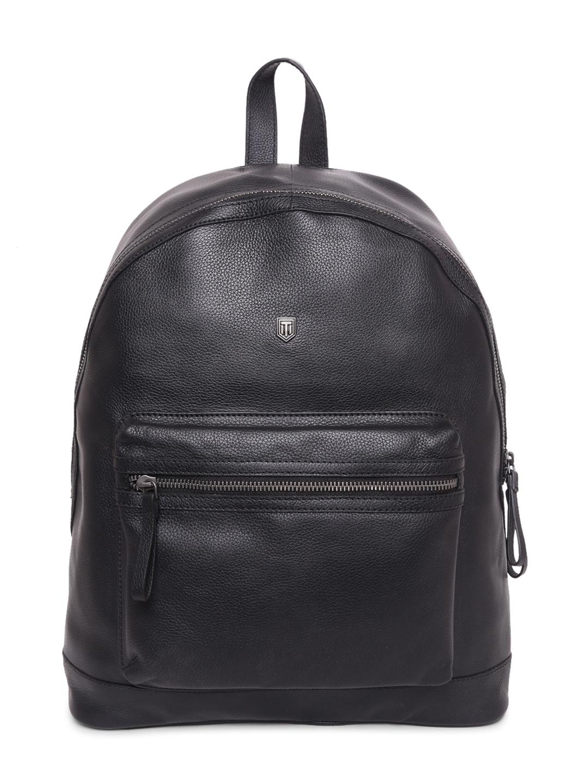 TOM LANG LONDON   TOM LANG LONDON Front Pocket Leather Backpack( Black) For Men and Woman