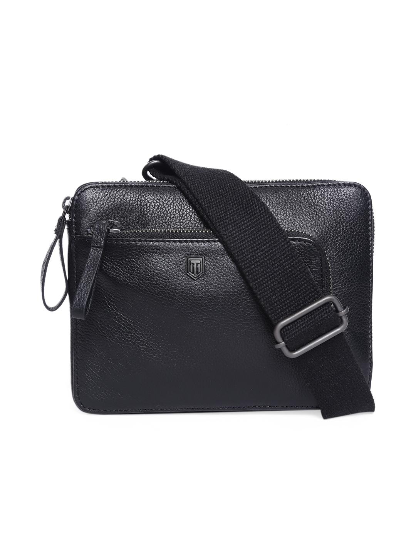 TOM LANG LONDON   TOM LANG LONDON Shrink Leather Shoulder Bag( Black) For Men and Woman