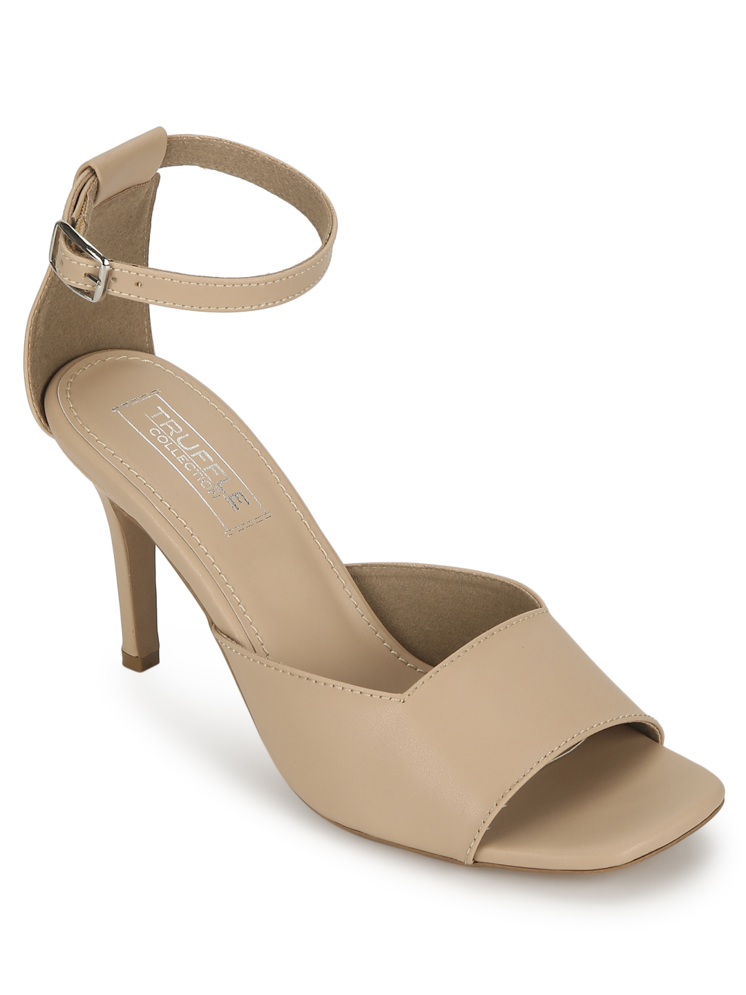 Truffle Collection | Nude PU Square Toe Pointed Heel Stilettos