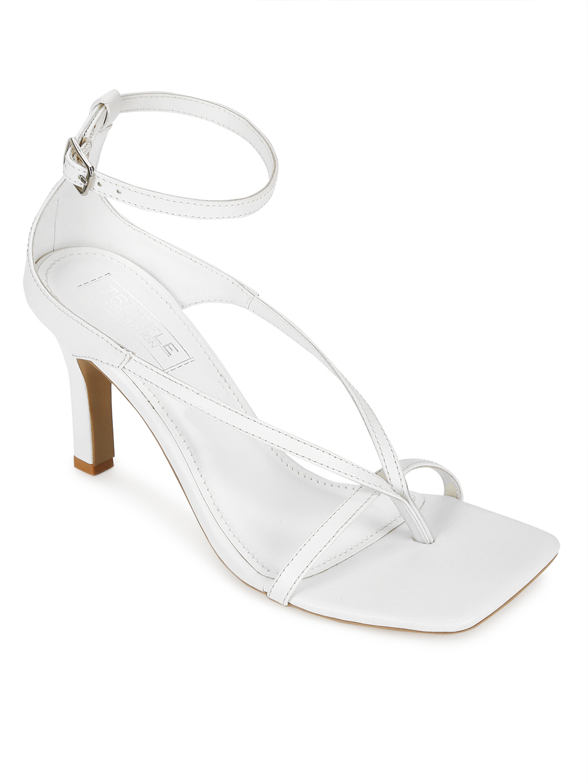 Truffle Collection | White PU Pointed Heel Strappy Stilettos