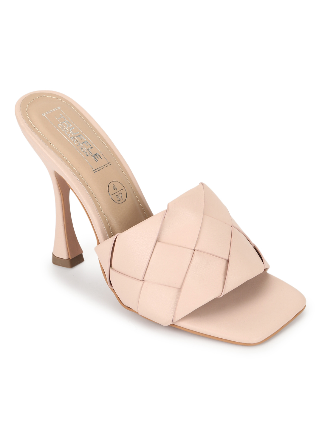 Truffle Collection   Truffle Collection Nude PU Woven Strap Stiletto Mules