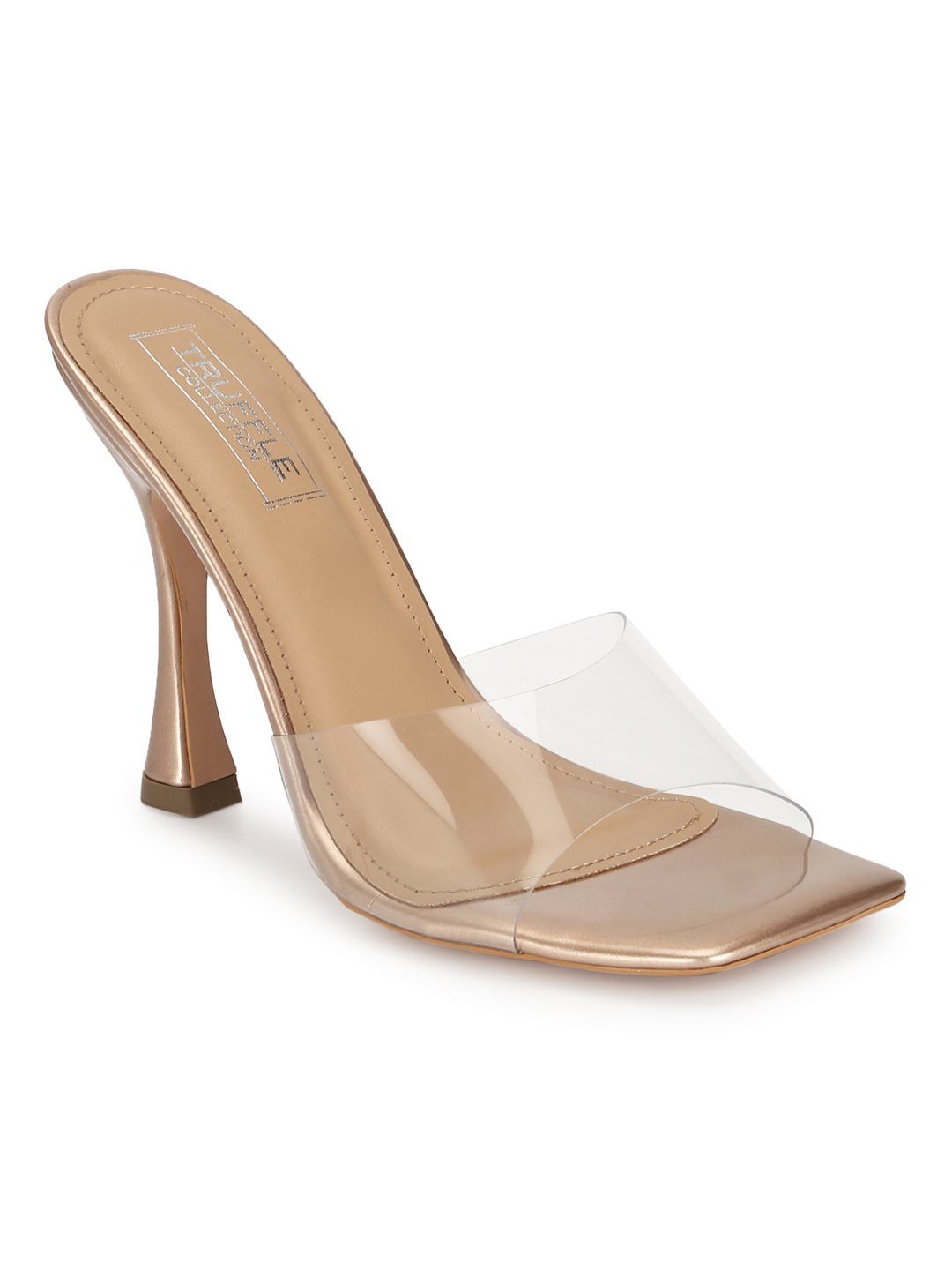 Truffle Collection | Rosegold Patent Perspex Stiletto Sandals