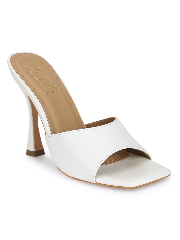 Truffle Collection   White PU Stiletto Sandals