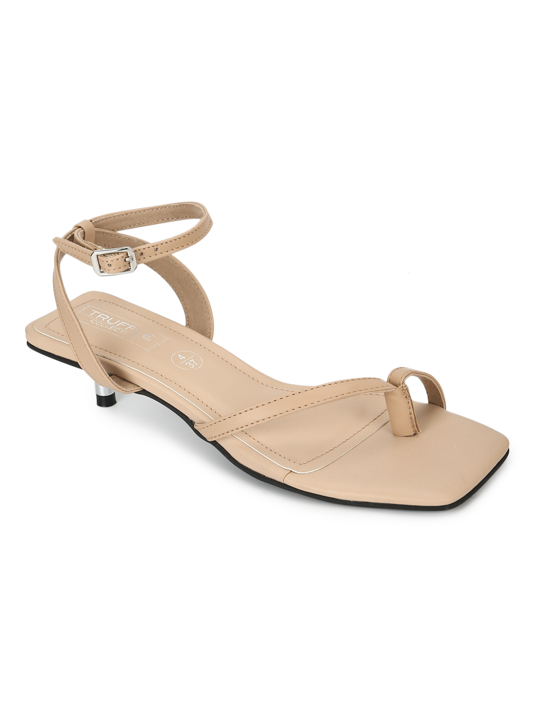 Truffle Collection | Truffle Collection Nude PU Strappy Kitten Heels