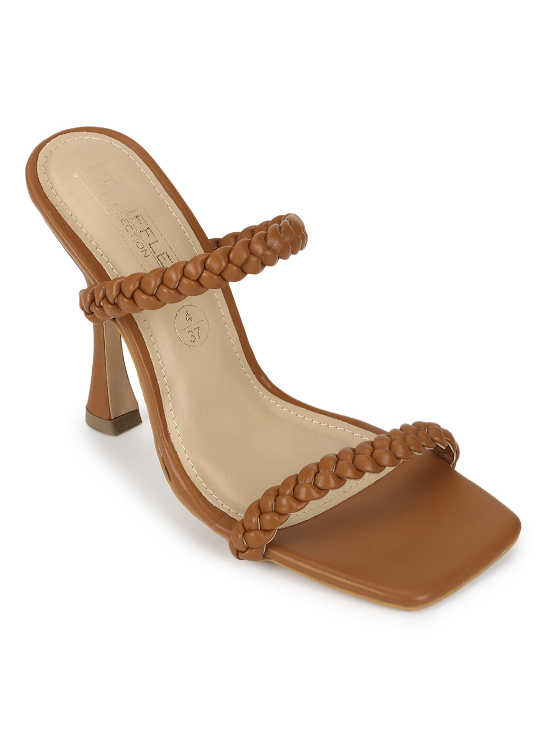 Truffle Collection | Truffle Collection Tan PU Stiletto Heel Braided Mules