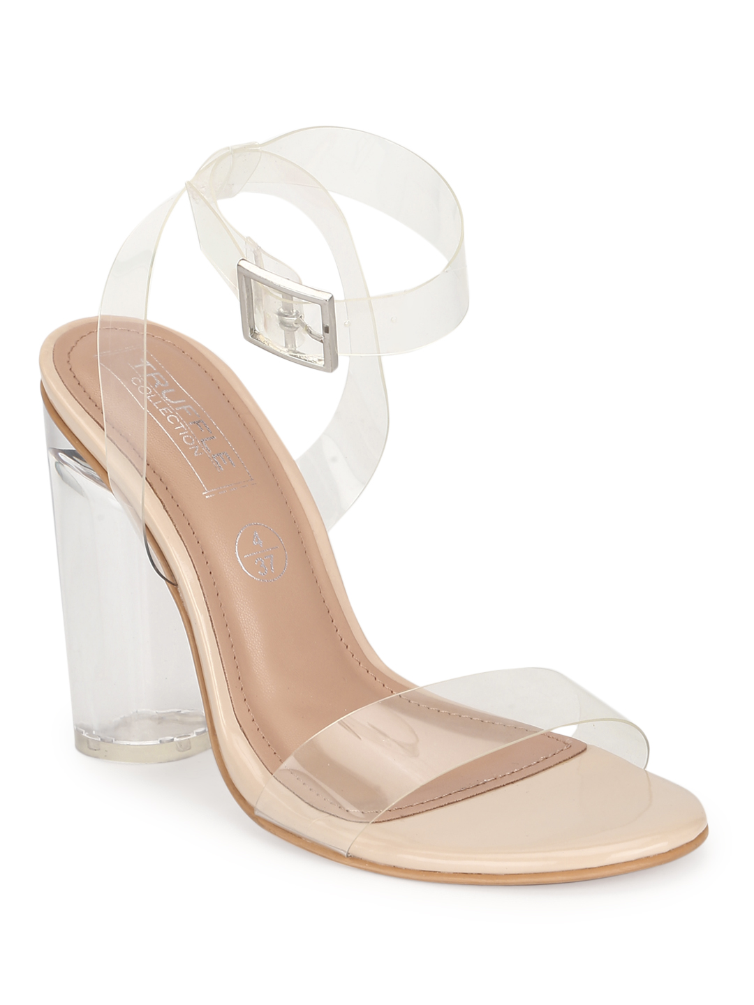 Truffle Collection   Nude Patent Perspex High Block Heels