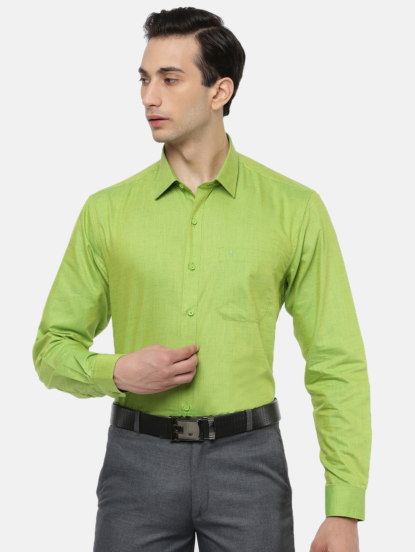 Ramraj Cotton | RAMRAJ COTTON Men's Yellow Green Traditional Shirt