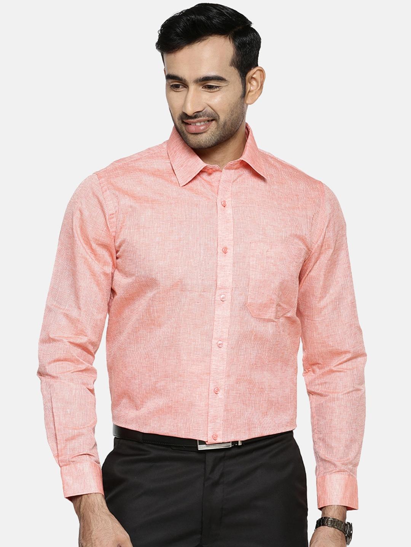 Ramraj Cotton   Ramraj Cotton Men Orange Original Regular Fit Solid Party Shirt