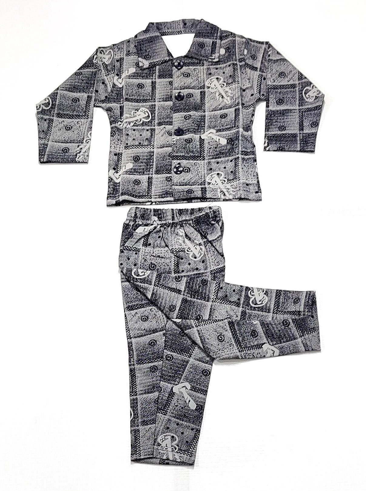 AAAKAR | Boy's Full Sleeve Pyjama Set Charcol Printed