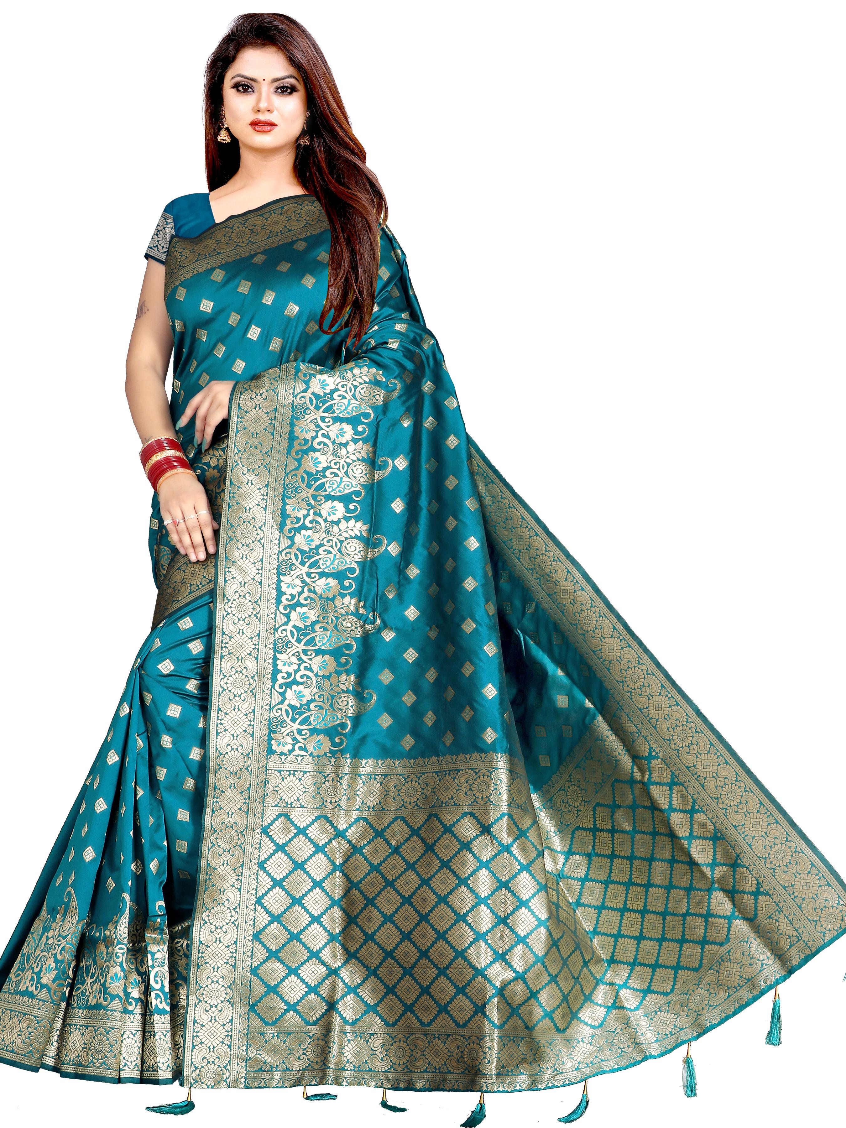 Glemora | Glemora Saree for Women Banarasi Silk With Blouse, Women Silk Sarees ( Rama )