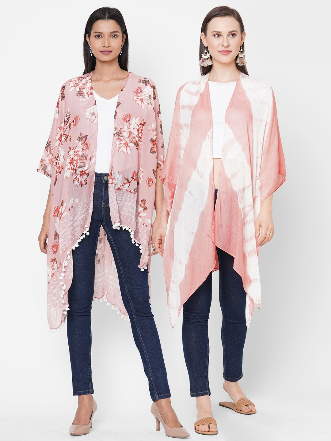 Get Wrapped | Get Wrapped Multicolour Viscose Tie-Dye & Polyester Printed Kimonos for Women -  Combo Pack of 2