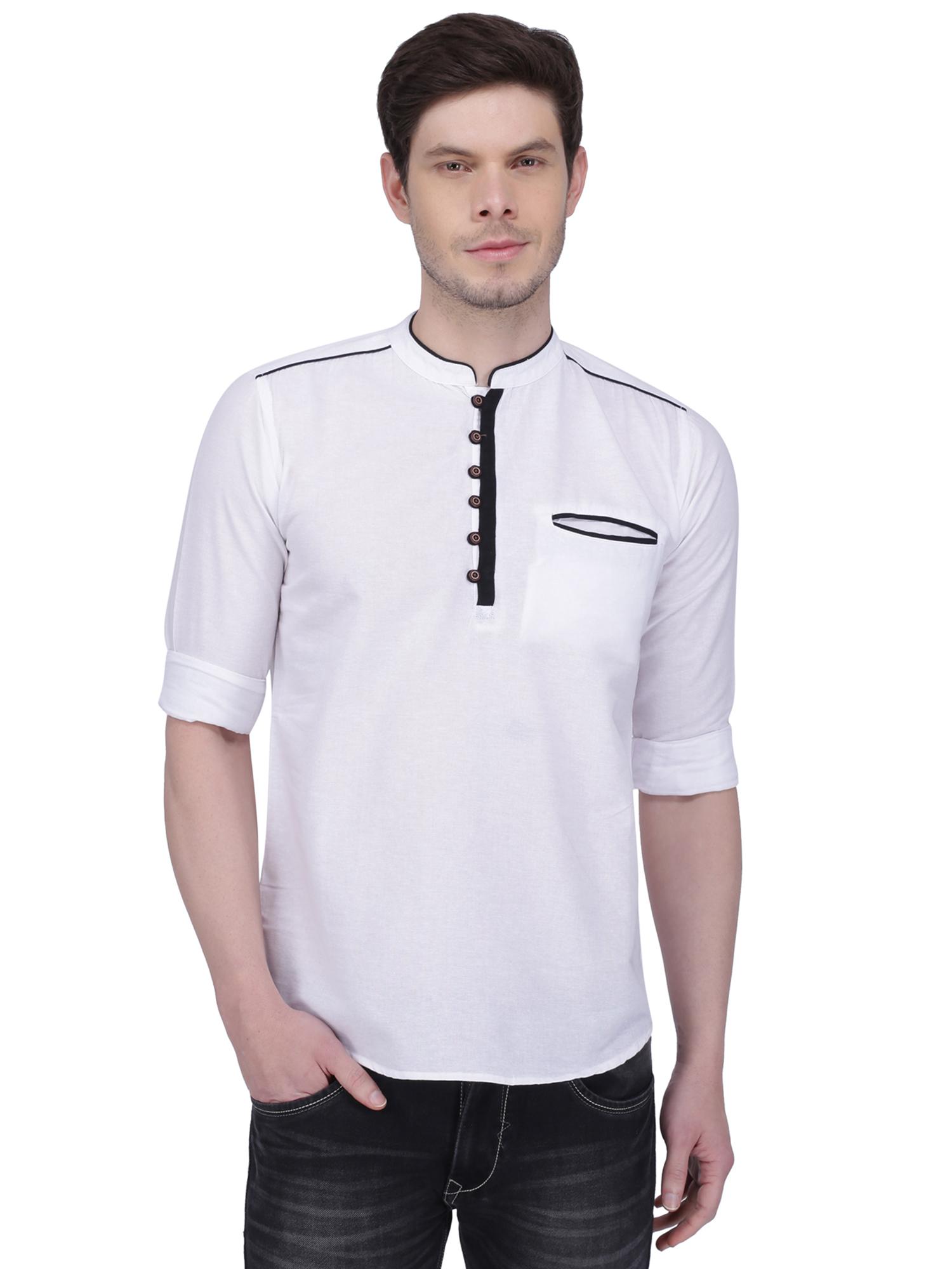 Kuons Avenue | Kuons Avenue Men's White Linen Cotton Short Kurta- KACLFS1154WH