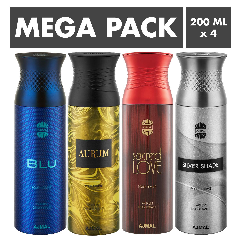 Ajmal | Ajmal Blu & Aurum & Sacred Love & Silver Shade Deodorant Spray- For Men (200 ml, Pack of 4)