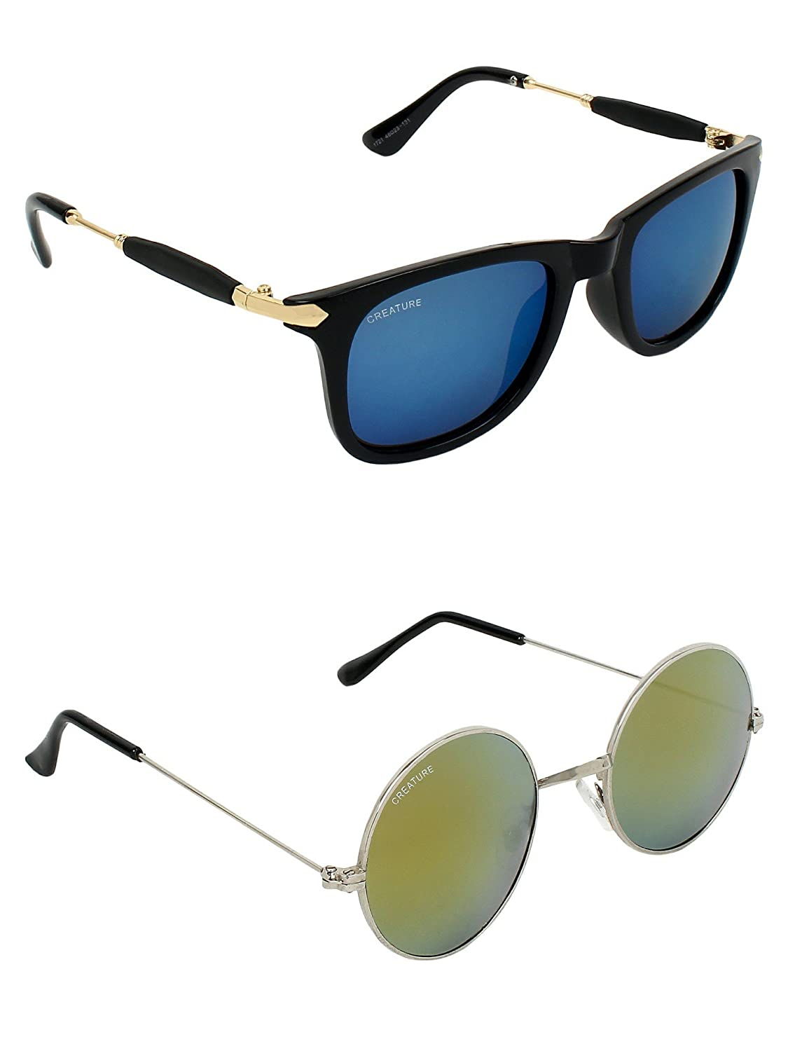 CREATURE | CREATURE Blue & Golden Round Sunglasses Combo with UV Protection (Lens-Blue & Golden|Frame-Black & Silver)