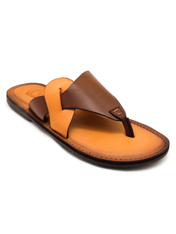 Trends & Trades | Mens Brown Colour BlockedThong Sandals