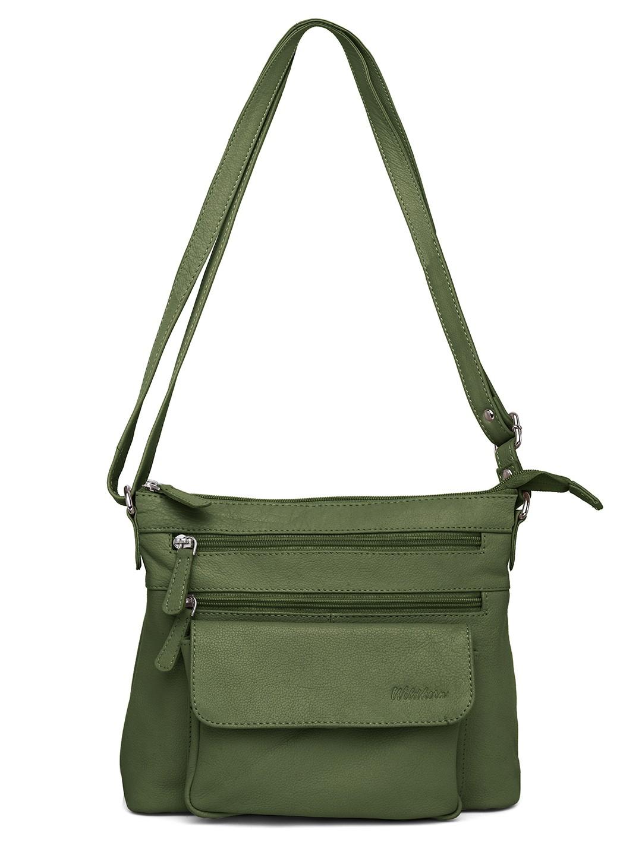 WildHorn   WildHorn Upper Grain Genuine Leather Ladies Cross-body Hand Bag with Adjustable Strap - Green