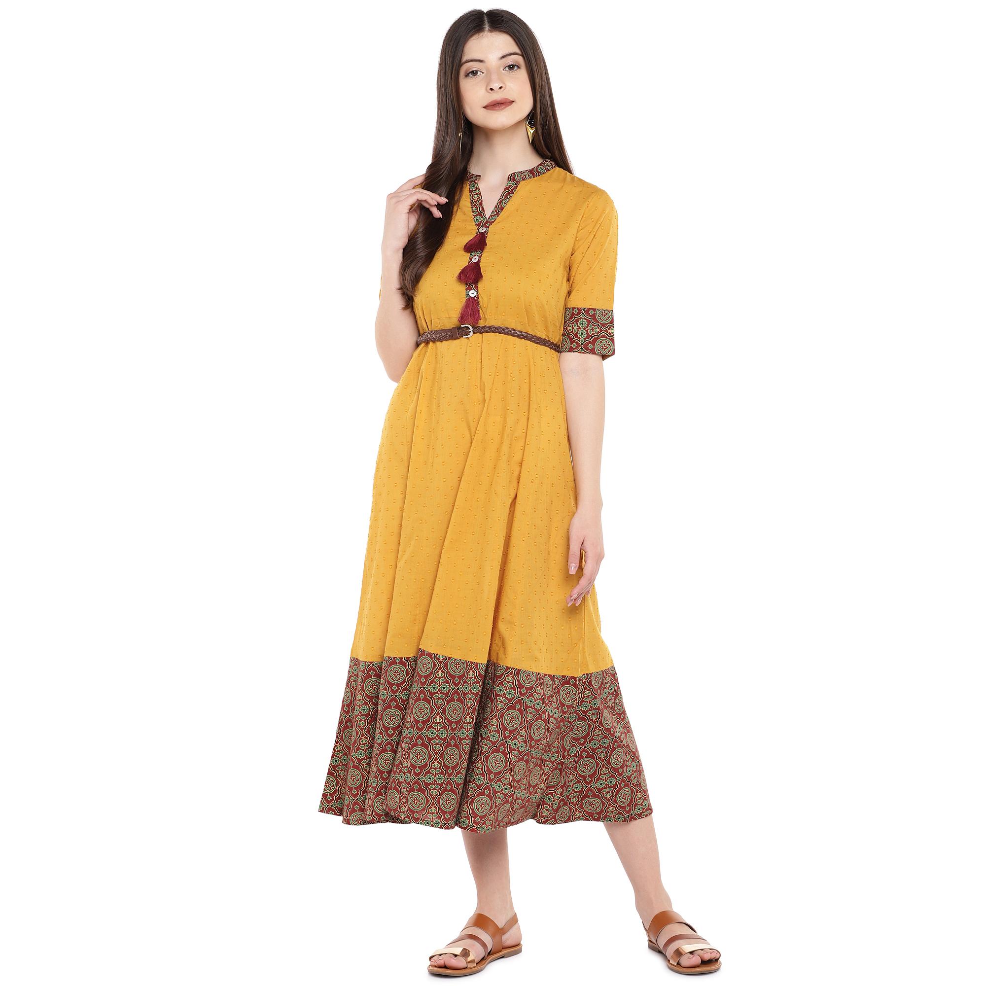 Ethnicity | Ethnicity Mustard Cotton Dobby Women Dress