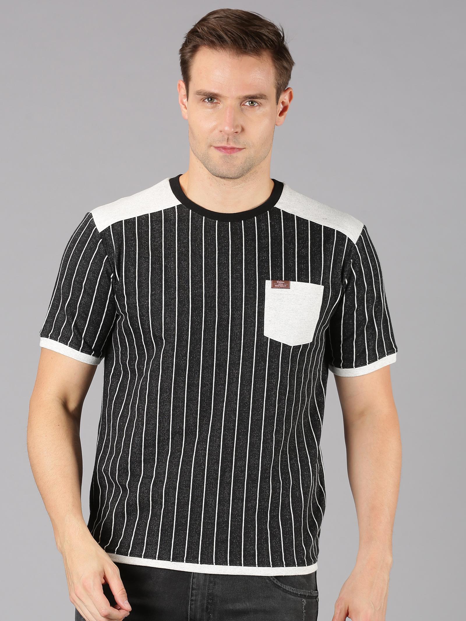 UrGear | UrGear Striped Men Round Neck Black T-Shirt