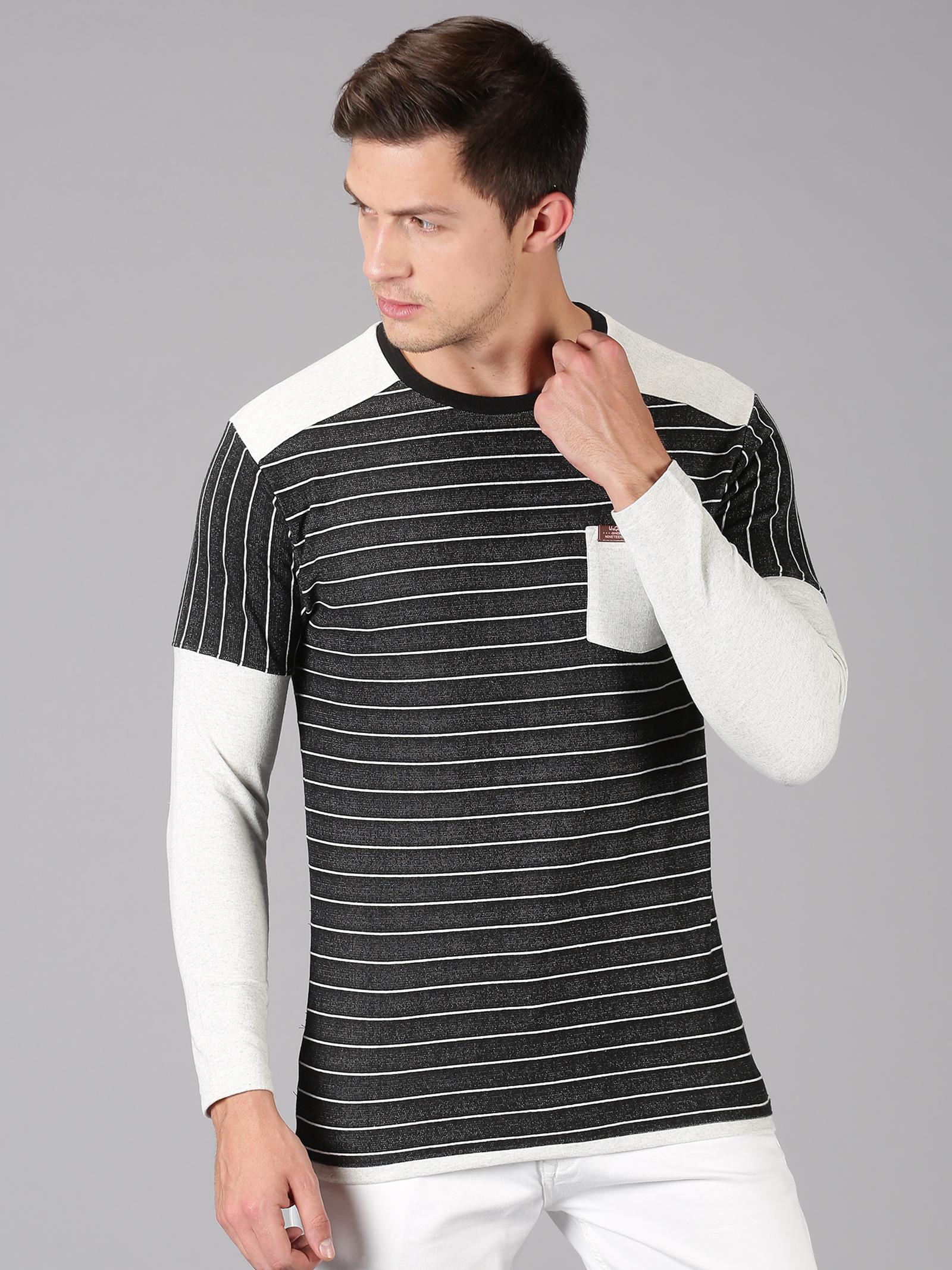 UrGear | UrGear Striped Men Round Neck Black, White T-Shirt