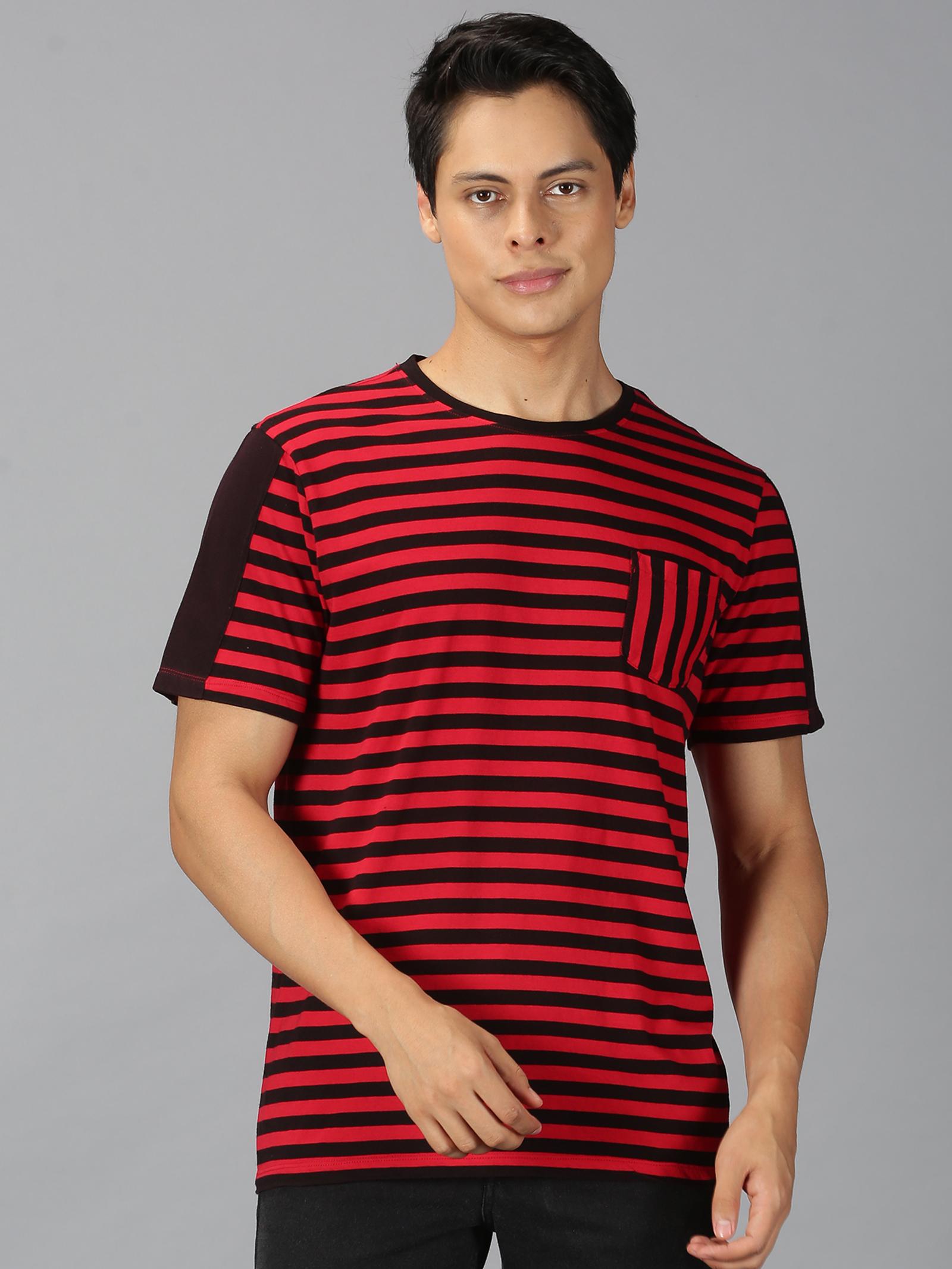UrGear | UrGear Stripes Men Round Neck Red,Black T-Shirt