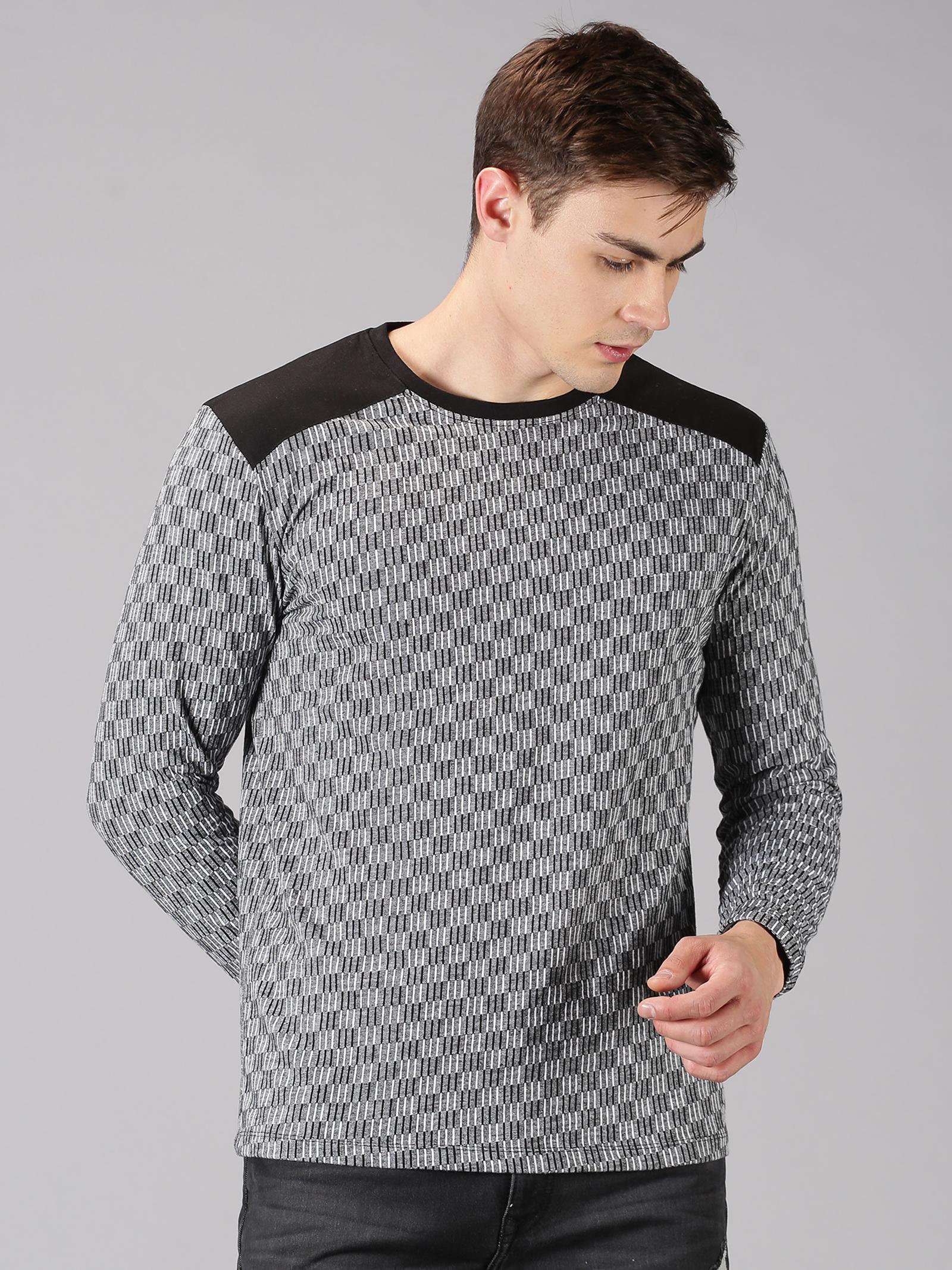 UrGear | UrGear Self Design Men Round Neck Black, Grey T-Shirt