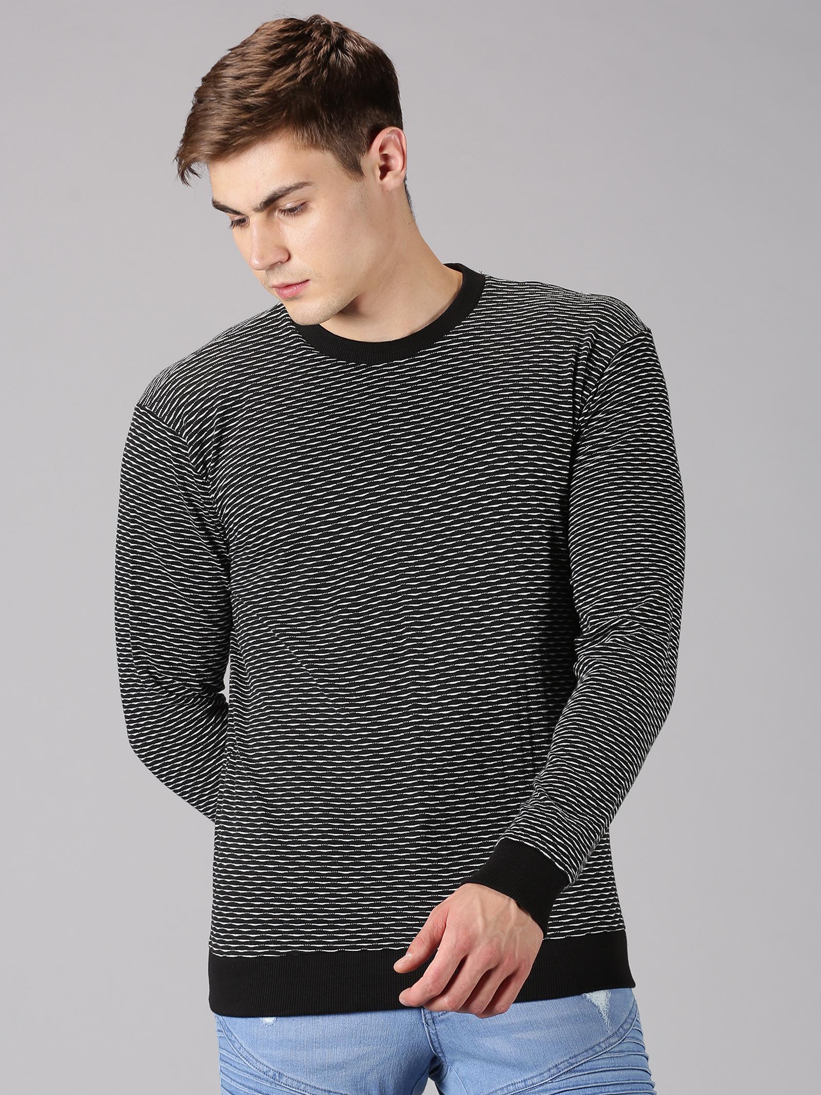 UrGear | Urgear Jaquard Round Neck Black T-Shirt