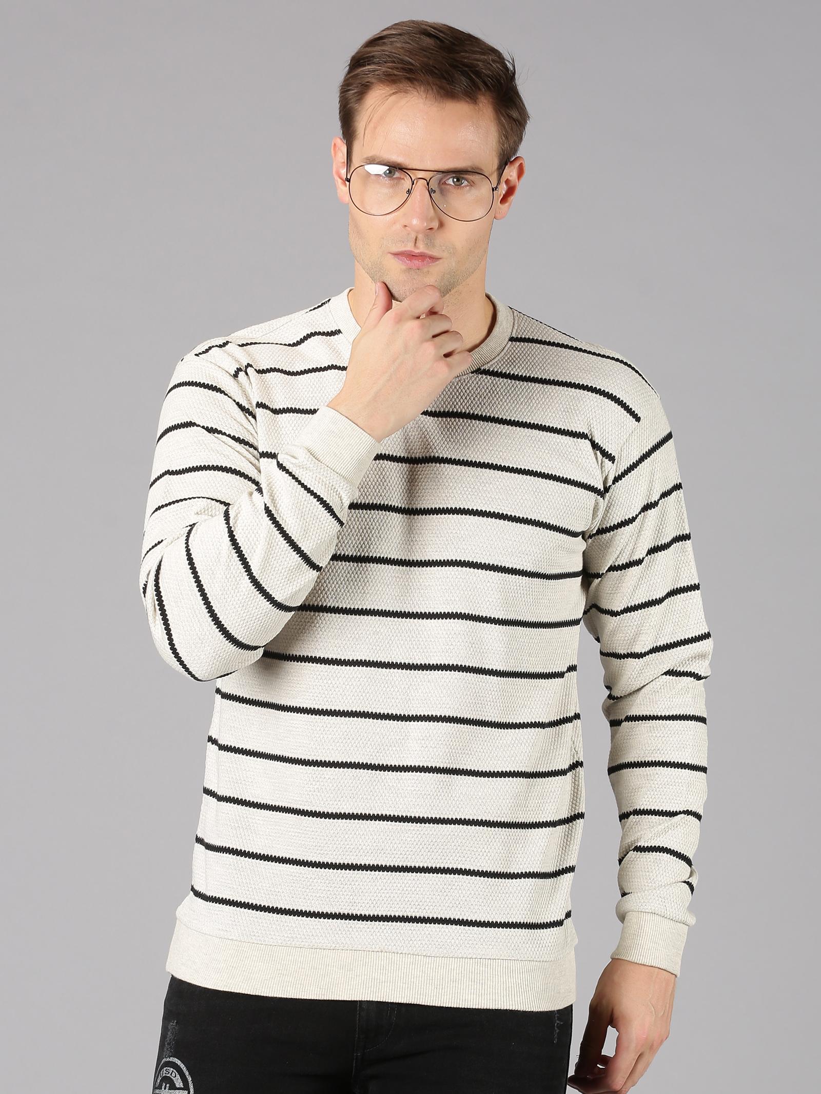UrGear | UrGear Striped Men Round Neck Grey T-Shirt