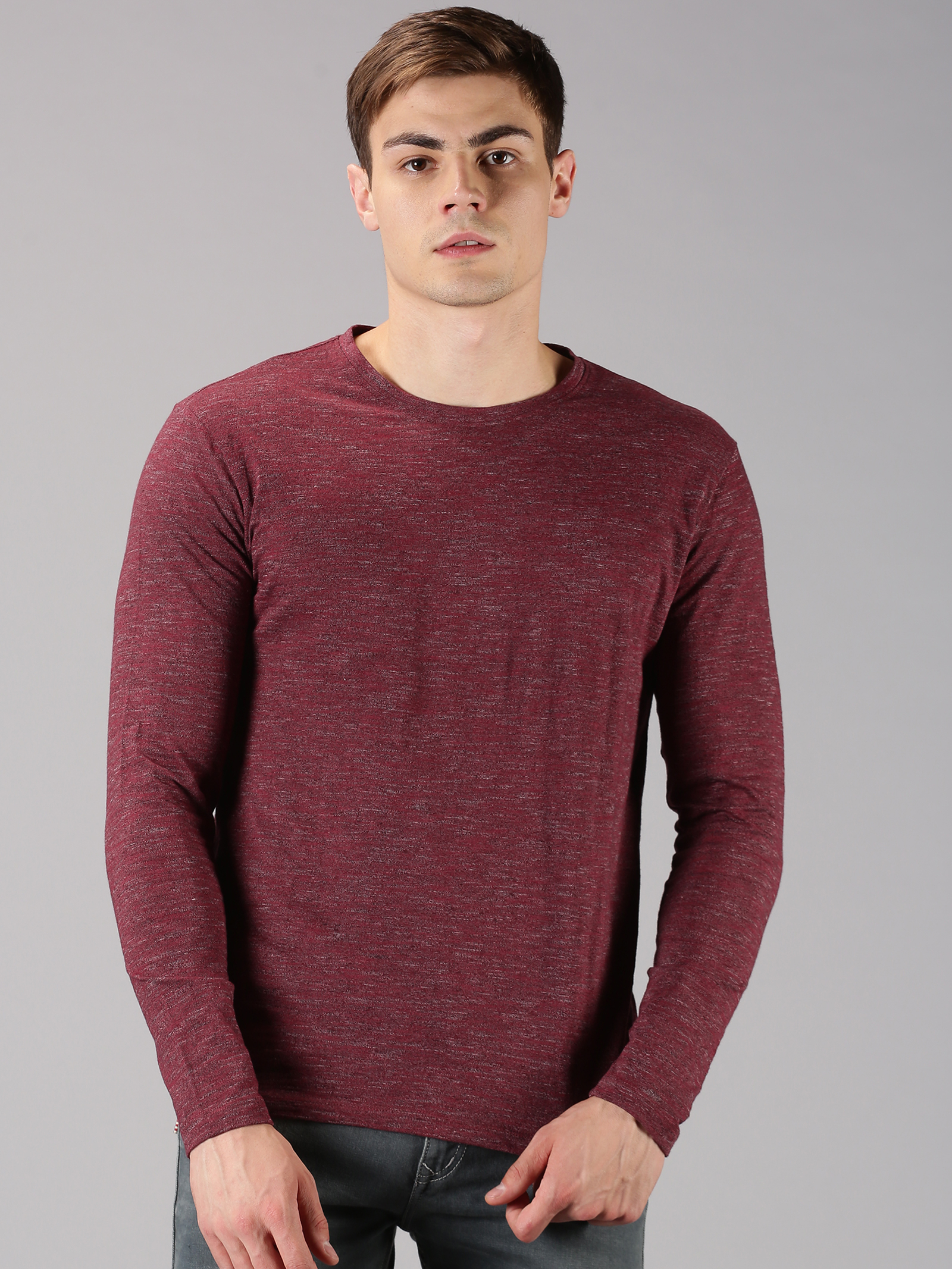 UrGear | UrGear Solid Men Round Neck Maroon T-Shirt