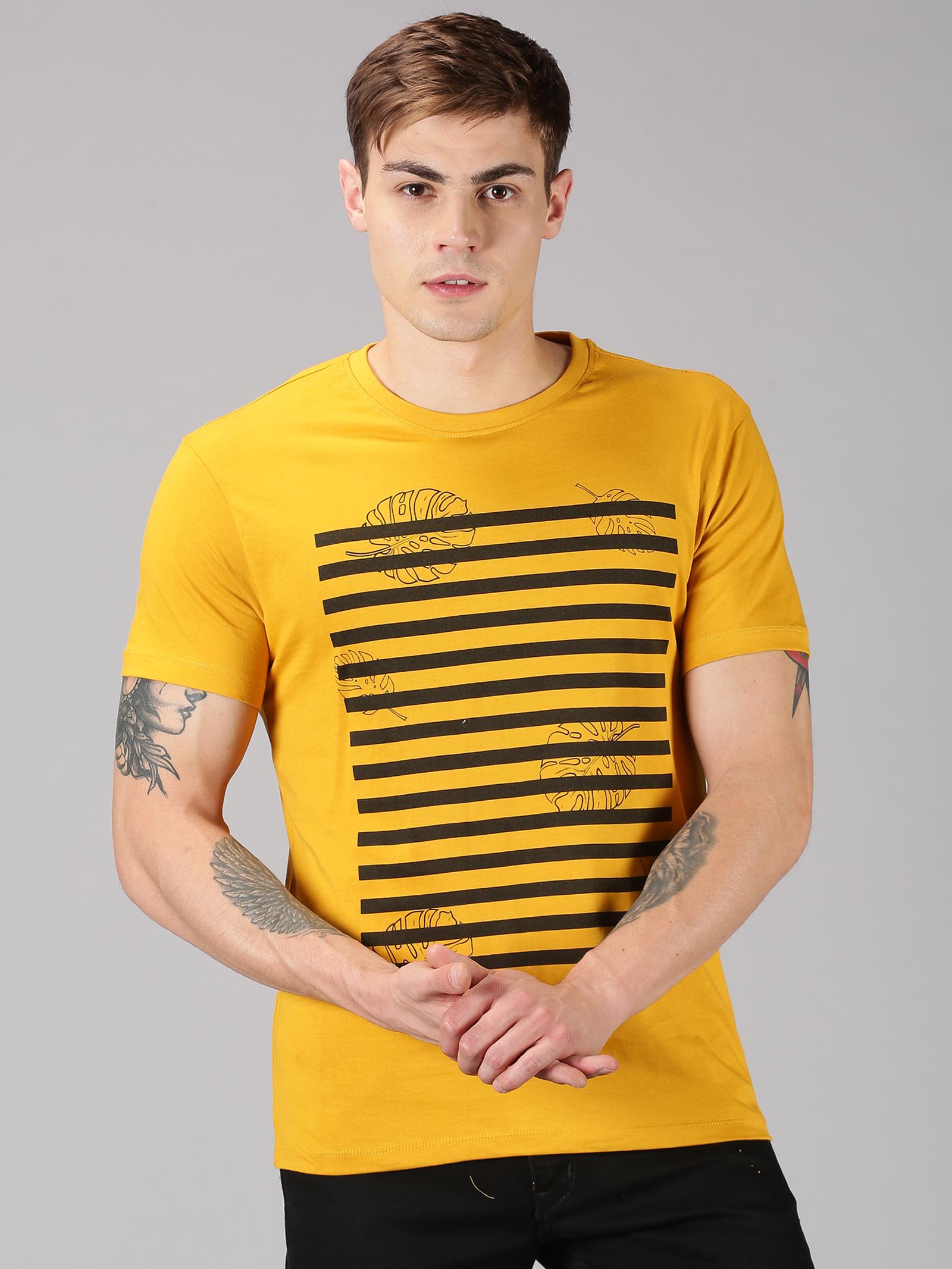 UrGear   UrGear Printed Men Round Neck Yellow T-Shirt