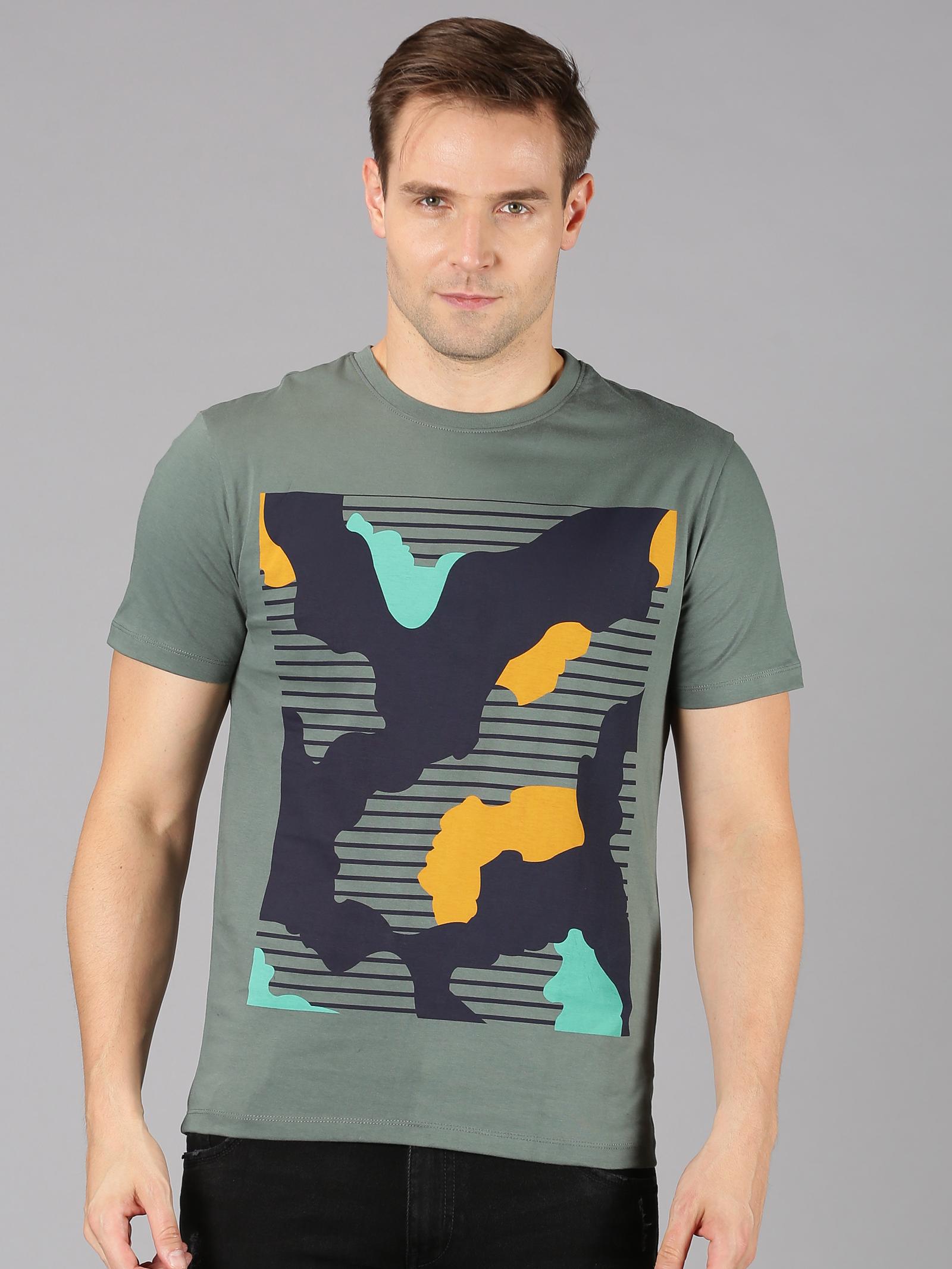 UrGear | UrGear Printed Men Round Neck Grey T-Shirt