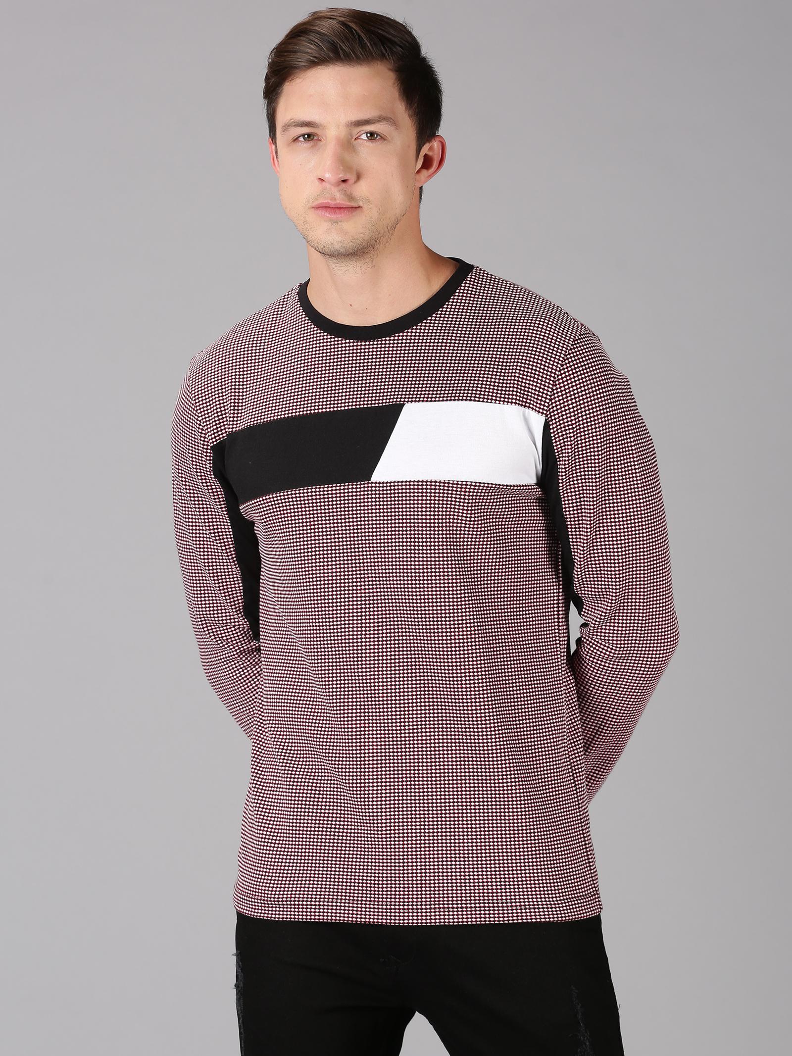 UrGear | UrGear Color Block Men Round Neck White, Black, Maroon T-Shirt