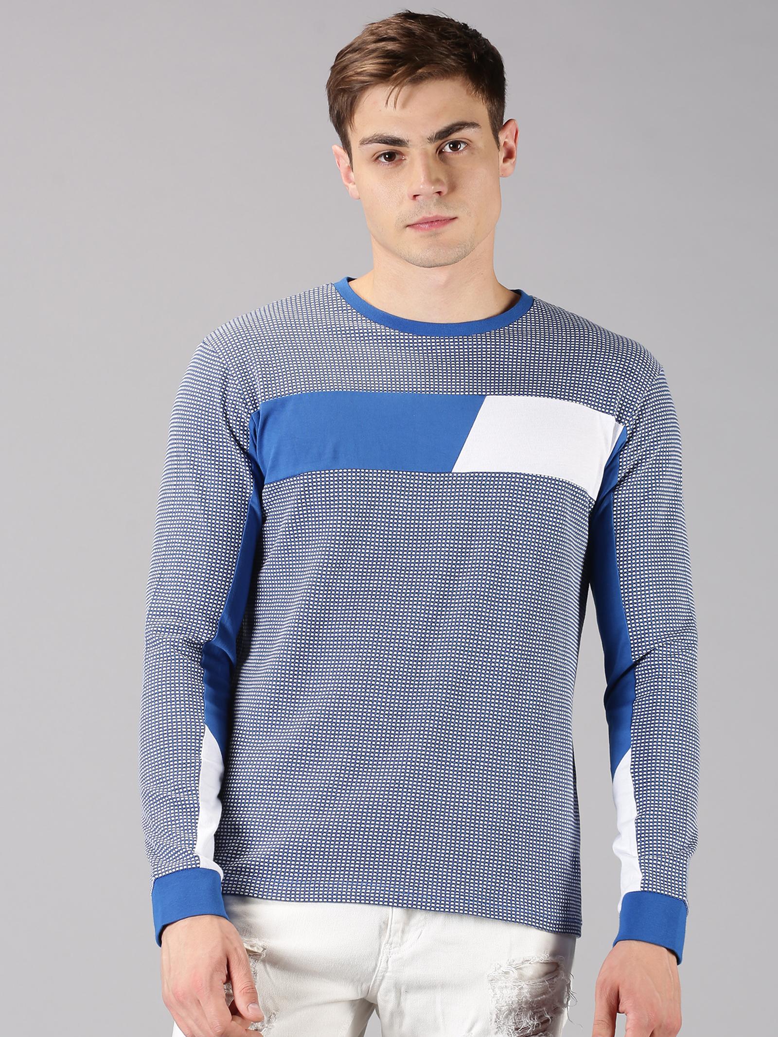 UrGear | UrGear Color Block Men Round Neck White, Blue T-Shirt